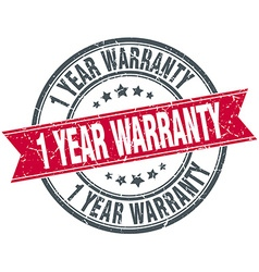 1 year warranty red round grunge vintage ribbon vector image