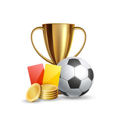 3d football ball golden cup red card coins vector image