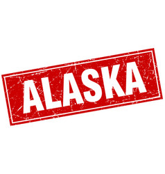 Alaska red square grunge vintage isolated stamp vector