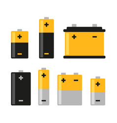 Alkaline battery icons set on white background vector