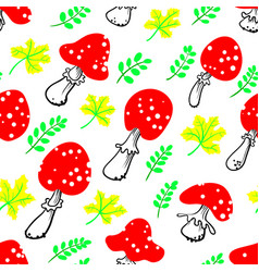 amanita seamless pattern mushroom background with vector image