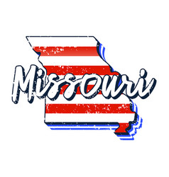 American flag in missouri state map grunge style vector