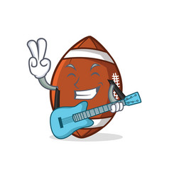 American football character cartoon with guitar vector