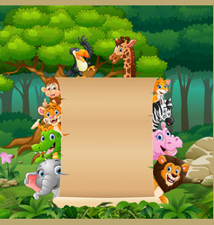 Animals with paper blank sign at forest vector