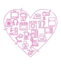 Appliances love heart vector image
