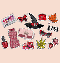 autumn holiday and fashion sticker set vector image