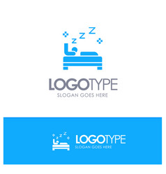 bed bedroom clean cleaning blue solid logo with vector image
