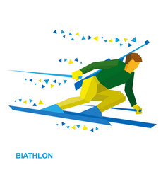 Biathlon player going skiing fast with a rifle vector
