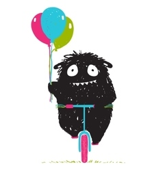 Black Little Monster Afraid of Riding Bicycle vector