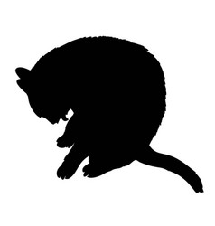 black silhouette of cat sitting sideways isolated vector image