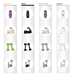 bottle with water biceps muscles dumbbells for vector image