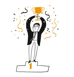 Business successful man is holding a trophy vector
