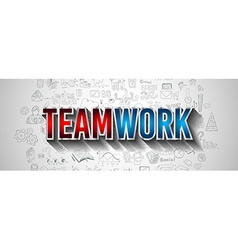 Business TeamWork Concept with Doodle design style vector image