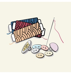 Buttons and reels of thread vector image