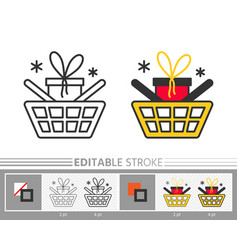 cart box gift sale linear icon vector image