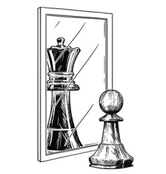 Cartoon drawing of white chess pawn reflecting in vector