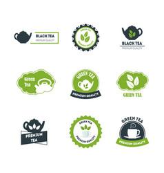 cartoon green and black tea badges or labels set vector image