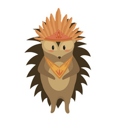 cartoon hedgehog indian a vector image