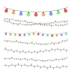Christmas holiday garland lights in flat style vector