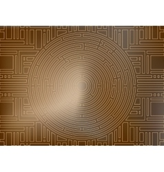 Circular labyrinth background gold antique vector image