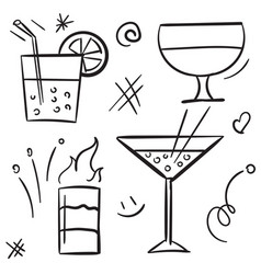 cocktail icon set isolated on white background vector image
