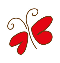 color silhouette with sketch butterfly vector image