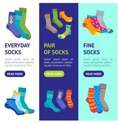 Colorful fun socks banner vecrtical set vector