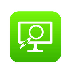 computer monitor magnifying glass icon digital vector image