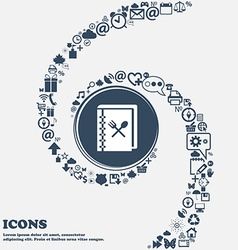 Cook book icon in the center Around the many vector