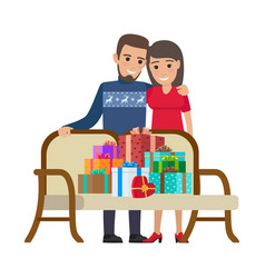 couple and bunch gifts christmas vector image