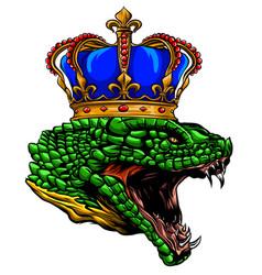 Crowned snake head logo viper emblem design vector