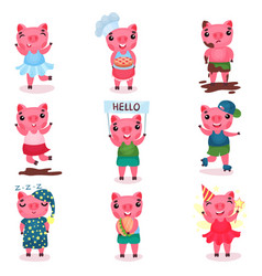 cute funny pig characters set piggy boys and vector image