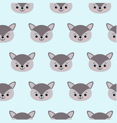 cute kids wolf pattern for girls and boys vector image