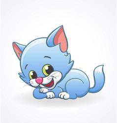 Cute smiling blue cartoon kitten cat lying vector