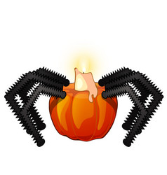 decorative candle holder pumpkin in the shape of a vector image