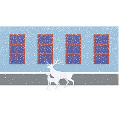 Deer and fawn near wall with windows snow vector