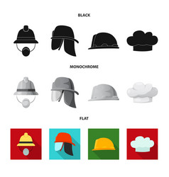 Design of headwear and cap icon set of vector