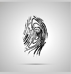 Detailed human fingerprint simple black icon with vector