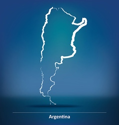 Doodle Map of Argentina vector