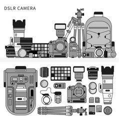 Dslr camera line monochrome vector
