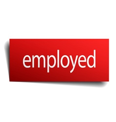 Employed red square isolated paper sign on white vector