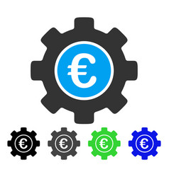 Euro development gear flat icon vector