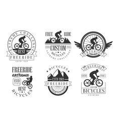 extreme freeride retro logo templates set vector image