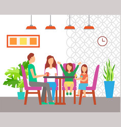 family eating out at table cafe interior design vector image