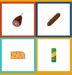 Flat icon food set of smoked sausage cheddar vector