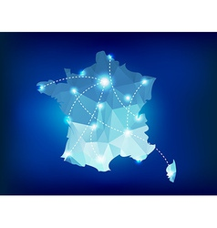 France country map polygonal with spot lights vector image