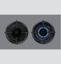 gas burner set outdoor stove cooker with blue vector image