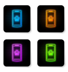 glowing neon shopping basket on screen smartphone vector image
