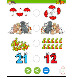 greater less or equal educational puzzle for kids vector image