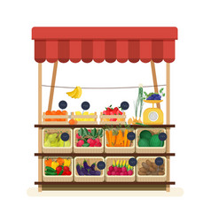 greengrocer s shop with awning marketplace or vector image